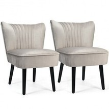 Set of 2 Armless Upholstered Leisure Accent Chair-Brown - Color: Brown - $337.42