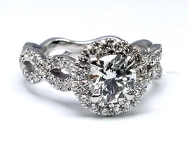 1.46 Carat Total Weight Halo Infinity Pave Engagement Ring - $7,232.43