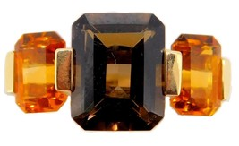 14k Gold Modern Genuine Natural Smoky Quartz Ring With Citrines (#J3941) - $382.50