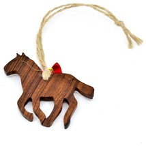 Hand Carved Ironwood Wood Folk Art Horse Silhouette Country Western Ornament image 2