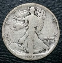 1916D Walking Liberty Half Dollar 90% Silver Coin Lot# MZ 4661