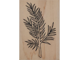 A Muse Art stamps Evergreen Branch Wood Mounted Rubber Stamp #2-4153J image 1