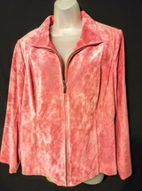 Preston & York Women's Size L Full Zip Fuschia Suede Leather Jacket - $69.25