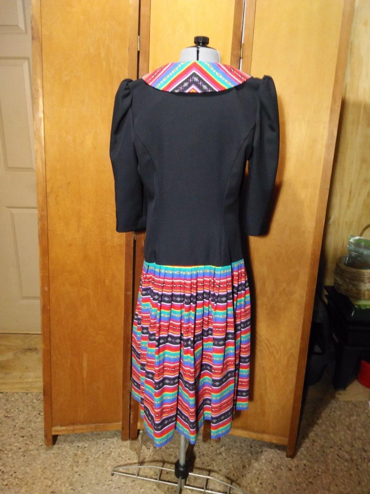 Vintage Eileen Scott Dallas Dress Size 8 Multi-Colored