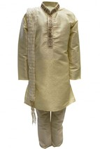 Krishna Sarees BYK3116 Navajo White and Gold Boys Kurta Pyjama Fancy Dress - $22.96+