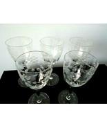 Set of 5 Vintage Etched Flower Crystal Glass Goblets - $14.99