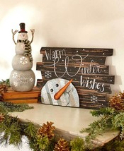 Lighted Snowman & Warm Winter Wishes Sign Wall Door Hanging Winter Chris... - $19.85+
