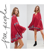 New Free People Red Floral Embroidered Te Amo Mini Dress $148 Size SMALL - $53.46