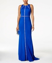 Adrianna Papell Dress Sz 12 Deep Sapphire Blue Lace-Trim Formal Party Gown - $97.90