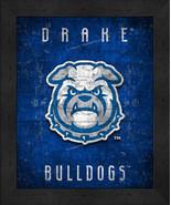 "Drake Bulldogs ""Retro College Logo Map"" 13x16 Framed Print  - $39.95"