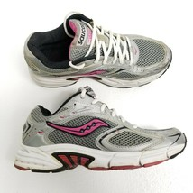 Saucony Grid Apex Womens Running Shoes Sz 8.5 Silver Pink Gray White Athletic - $27.81