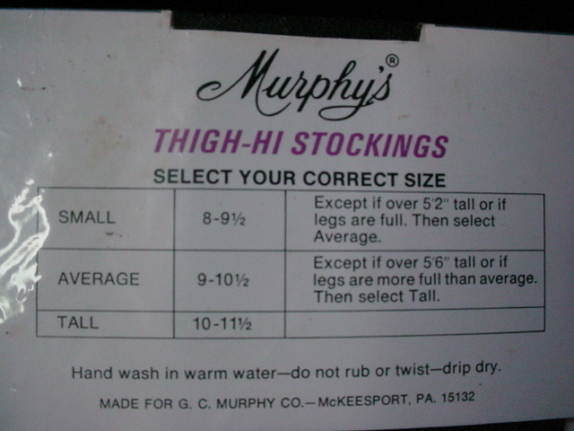 Vintage Murphy's Sexy Nylon Thigh Hi Stockings Coffee Color Size Small 8.5-9
