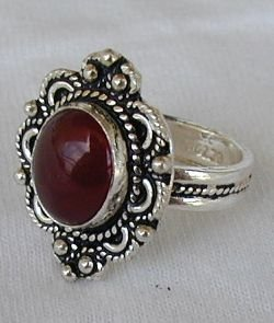 Primary image for ZV-Red agate silver ring