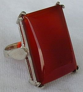 RC red agate silver ring