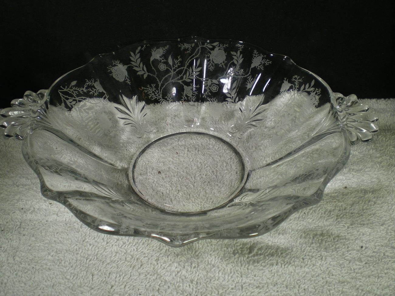 """Fostoria Chintz 9"""" Round Handled Vegi Bowl~~~htf~~~check it"""