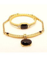 Elegant MONET Necklace Bracelet Black Rhinestone Set - $29.95