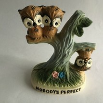 "Vintage 1977 Ceramic Owl Figurine "" Nobody's Perfect ""Made In Japan 4.5X... - $14.94"