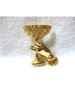 Hand Holding Rhinestone Champagne Glass Brooch/... - $8.99