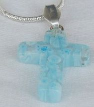Mini Cross white morano and turqouise flowers - $21.00