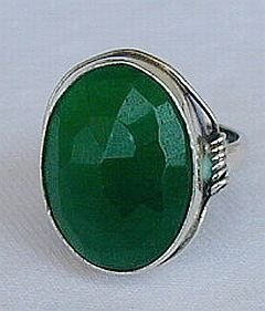 Primary image for Green agate-silver ring C 21