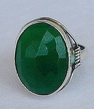 Green agate-silver ring C 21 - $28.00