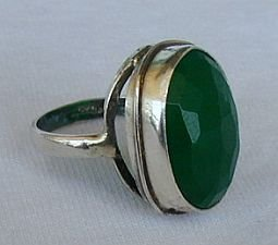 Green agate-silver ring C 21