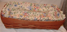 Longaberger Basket Floral Fabric Lining Signed 2006 Rectangle - $20.12