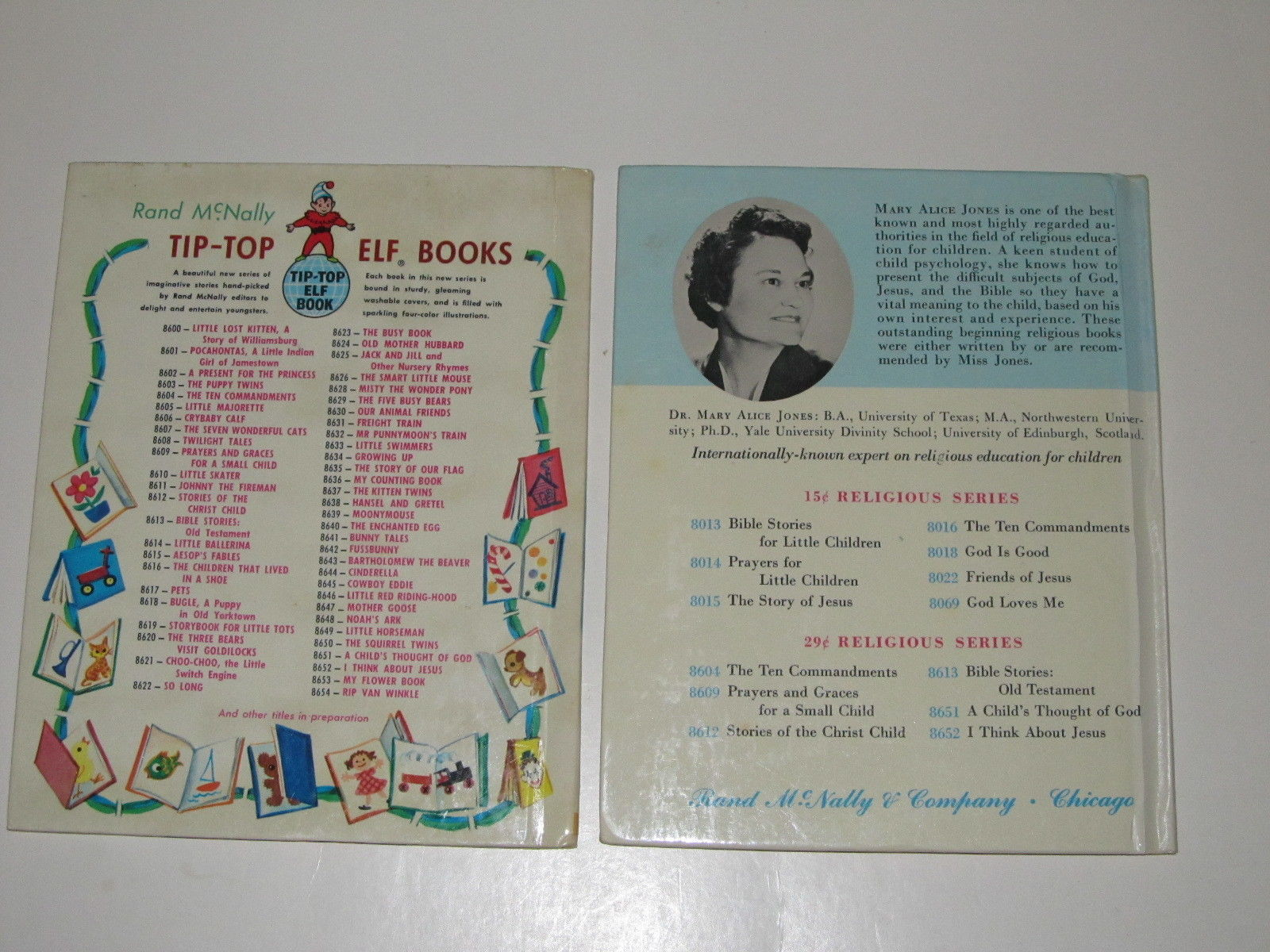 Pair of Vintage Religious Books for Children - Rand McNally Tip-Top Elf Books