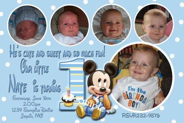 Baby Mickey Mouse First 1st Birthday Photo Invitation