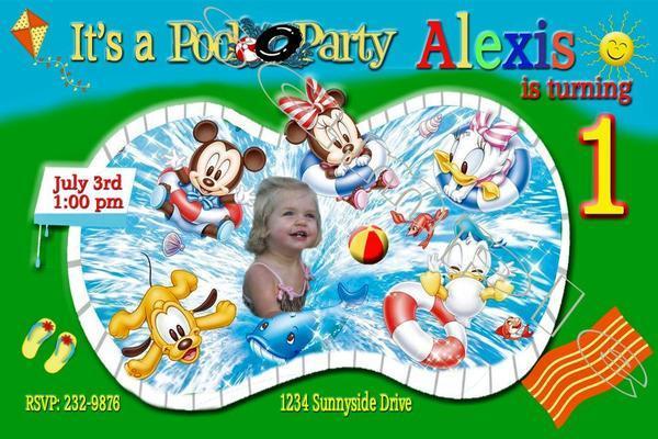 Baby Minnie Mouse 1st Birthday Photo Invitation