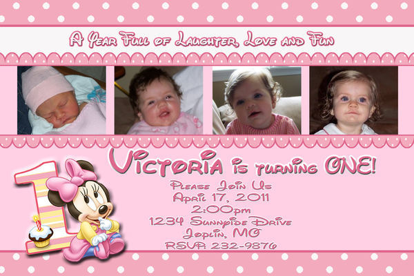 Baby Minnie Mouse First 1st Birthday Photo Invitation DIgital File ~YOU PRINT~