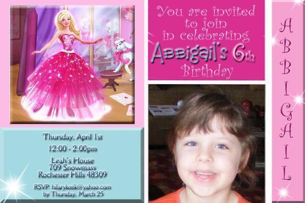 Barbie Fashion Fairytale  Birthday Party Invitation Digital File You Print