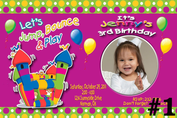 Bounce House Custom Photo Birthday Party Invitation ~includes envelopes!