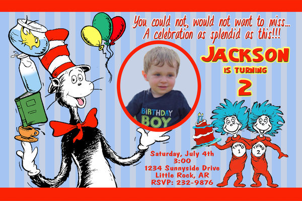 Cat in the Hat Personalized Birthday Invitation Digital FIle You Print