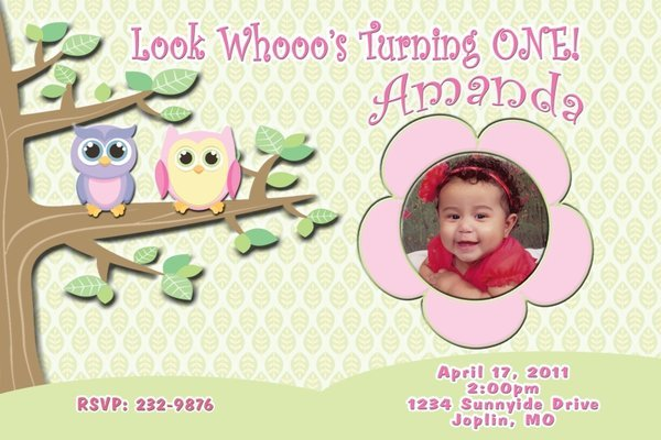 Cute Owl Custom Photo Birthday Invitation Digital FIle You Print
