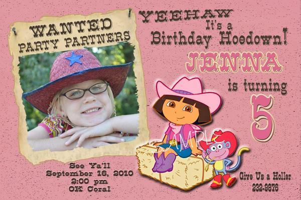 DORA THE EXPLORER WESTERN COWGIRL BIRTHDAY PARTY INVITATION