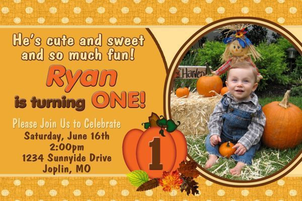 Fall Festival,Thanksgiving, Little Pumpkin Personalized Invitation Birthday  Dig