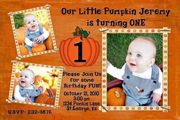 Fall Thanksgiving Pumpkin Invitation Personalized Photo Halloween