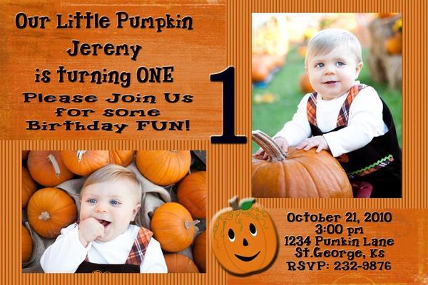 Fall Thanksgiving Pumpkin Personalized Photo Invitation
