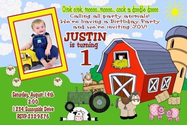 Farm Animals Barnyard Birthday Party Photo Invitation ~ Digital File ~ You Print