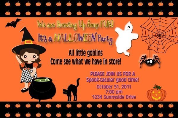 Halloween Party Invitation Cute Lil' Witches