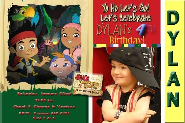 Jake and the Neverland Pirate Photo Birthday Party Invitation 4x6 or 5x7 You Pri