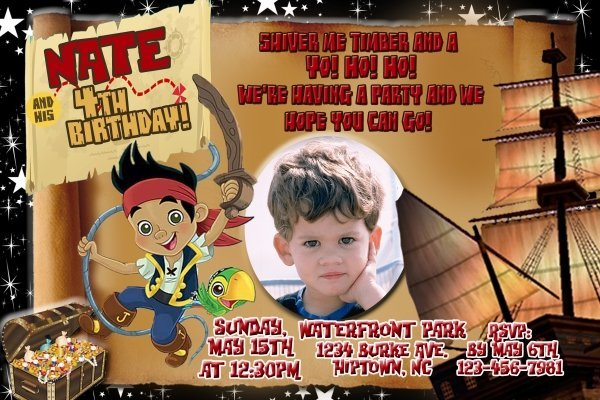Jake and the Neverland Pirate Photo Birthday Party Invitations envelopes include