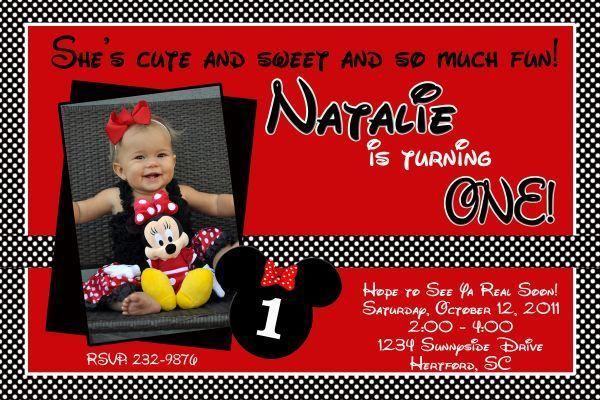 Minnie Mouse Personalized  Birthday Invitation Photo Digital File  You Print