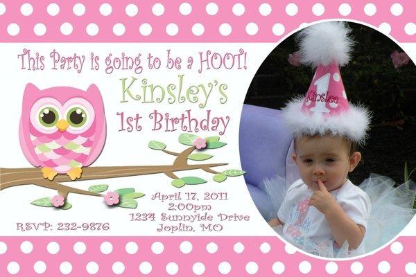 Owl Birthday Invitation Personalized Photo Custom