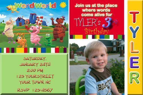 Word World  Personalized Birthday Photo Invitations