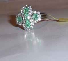 GREEN COLOMBIAN EMERALD OVAL & WHITE TOPAZ COCKTAIL RING, 925, SIZE 9, 1... - $135.00