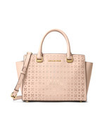 New Michael Kors Selma Medium Top Zip Perforated Leather Satchel Soft Pi... - $240.22 CAD