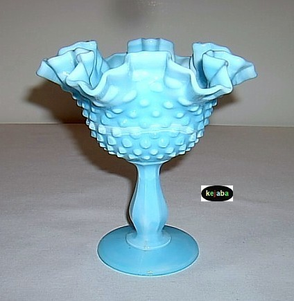 Fenton Blue Marble Hobnail Compote