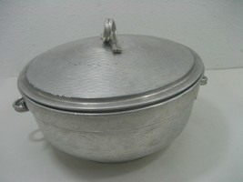 Vintage Aluminum Oven Ice Double Wall Stock Pot & Handles & Lid Made in ... - $18.65